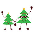 kawaii christmas tree cartoon celebration vector image vector image