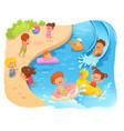 kids on beach cartoon color vector image vector image