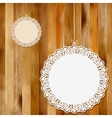 Lace frame on wooden background EPS8 vector image vector image