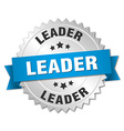 leader 3d silver badge with blue ribbon vector image vector image