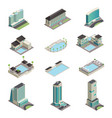luxury hotel buildings isometric icons vector image vector image