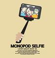Monopod Selfie Self Portrait Tool For Smartphone vector image vector image