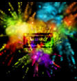 multicolored explosive clouds of powder dye vector image vector image