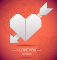 Paper origami heart symbolic vector image