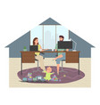 parents work at home at a computer and laptop vector image vector image