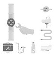 plumbing fitting monochrome icons in set vector image