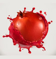 pomegranate juice fresh fruit 3d icon vector image