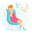 pregnant woman enjoy music vector image vector image