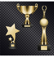 Realistic golden trophy cups set