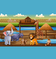 scene with wild animals at zoo park vector image vector image