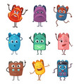schoolbags characters with different emotions vector image vector image
