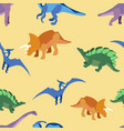 seamless pattern ancient animals dragons in vector image