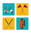set golf equipment design vector image