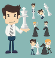 Set of businessman fighting playing chess vector image vector image
