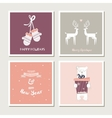 set vintage greeting cards for christmas vector image vector image