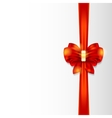 Shiny red satin ribbon on white background vector image vector image