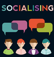 Social media speech bubbles with group of people vector image vector image