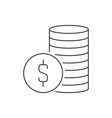 stack coins linear icon on white background vector image vector image