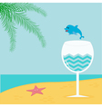 Summer beach background with palm star cocktail vector image