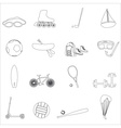 summer sports and equipment outline icon set eps10 vector image vector image