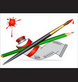 tube with paint and brush and pencil vector image vector image