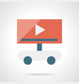 video ads on wheels flat simple icon vector image vector image