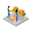 warehouse with conveyor isometric 3d icon vector image vector image