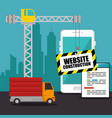 website under construction background vector image vector image
