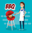 woman cooking in picnic day scene vector image
