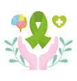 world mental health day hands green ribbon brain vector image vector image
