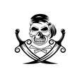 pirate skull with swords and bones vector image