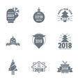 2018 christmas logo set simple style vector image
