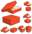 3d box with opened and closed lids vector image vector image
