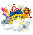 A lion and an elephant near the circus signage vector image