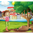 A young girl at the riverbank near the tree vector image vector image