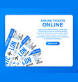 airline tickets online buying or booking online vector image vector image