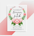 beautiful floral wedding card invitation design vector image vector image
