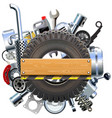board with truck wheel and spares vector image
