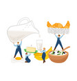 breakfast tiny farmers characters vector image vector image