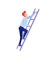 businessman rising up the stairs vector image