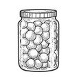canned cherries in glass jar sketch vector image