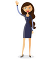 cheerful young businesswoman waving her hand vector image vector image