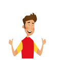 cheerful young man showing thumbs vector image