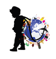 child holding planet earth and travel icon vector image vector image