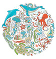 Circle set of sealife animals and plants over vector image vector image