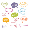Color speech bubbles set with short messages vector image