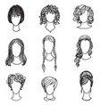 cute girl faces women avatars character set vector image vector image
