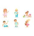 cute happy toddler babies set adorable cheerful vector image