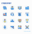 cybersport thin line icons set vector image vector image