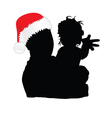 dad with christmas hat and daughter vector image vector image